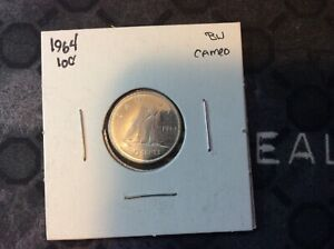 1964 CANADIAN BRILLIANT UNCIRCULATED CAMEO TEN CENT FROM THE TOREX AUCTION 2009