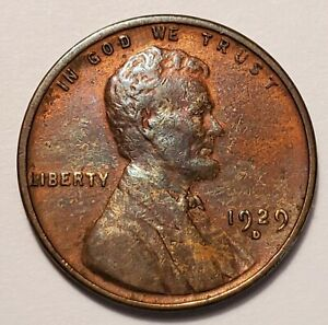 3 LY FINE  LOW MINTAGE 1929 D LINCOLN WHEAT CENT