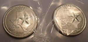 2004 P & D TEXAS QUARTER SET  2 COINS   MINT CELLO