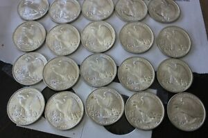 1942 COMPLETE ROLL OF 20 NEVER IN CIRCULATION  WALKING LIBERTY HALF DOLLARS