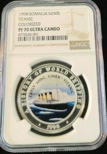 Click now to see the BUY IT NOW Price! 1998 SOMALIA SILVER 250 SHILLINGS S250S TITANIC NGC PF 70 ULTRA CAMEO POP 1