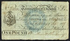 BANKNOTE TAMWORTH OLD BANK 1821 ONE POUND NOTE H415