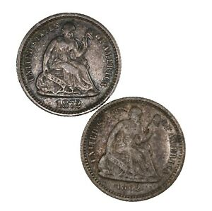 RAW 1862 1872 SEATED LIBERTY H10C UNCERTIFIED UNGRADED US SILVER HALF DIME LOT