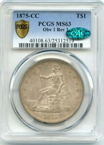 Click now to see the BUY IT NOW Price! C12746  1875 CC TRADE DOLLAR PCGS MS63 CAC