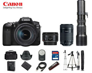 CANON EOS 90D DSLR CAMERA WITH 18 135MM USM   50MM   55 250MM   500MM F/8