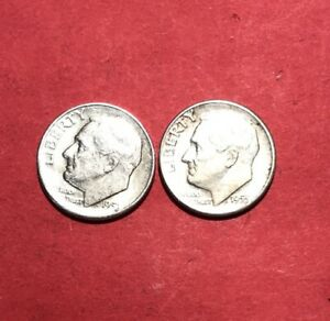 1955 D S YEAR SET S AND D ROOSEVELT DIME 90  SILVER LOW MINTAGE