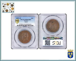 FRANCE : 10 CENTIMES NAPOLEON III 1855 D LYON ANCRE PCGS MS63 BN