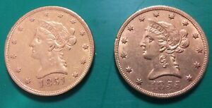 TWO GOLD LIBERTY EAGLE 1851 & 1855 TEN DOLLAR $10 EARLY DATE GOLD RUSH YEARS