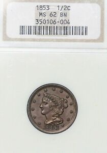 1853 1/2C BRAIDED HAIR HALF CENT NGC MS62 BN GORGEOUS CHOCOLATE BROWN TOUGH