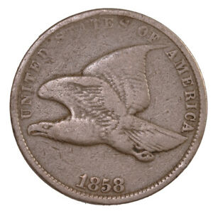 RAW 1858 FLYING EAGLE 1C SMALL LETTERS UNGRADED US COPPER SMALL CENT PENNY COIN