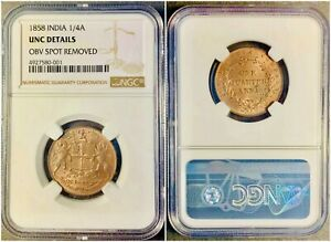 1858 BRITISH EAST INDIA COMPANY UNC ONE QUARTER ANNA NGC CERTIFIED COIN
