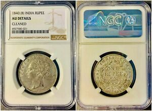 1840 BRITISH INDIA ALMOST UNCIRCULATED NGC SILVER RUPEE  S REV:19 BERRIES