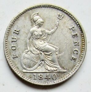 1840 GREAT BRITAIN SILVER .925 4 FOUR PENCE YOUNG HEAD QUEEN VICTORIA UNC 4D