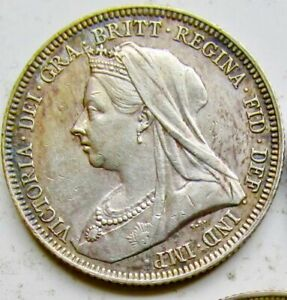 GREAT BRITAIN 1893 SILVER .925 QUEEN VICTORIA SHILLING OLD HEAD NICE TONED A/UNC