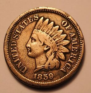 VERY GOOD LOW MINTAGE 1859 INDIAN HEAD CENT