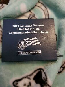 2010 AMERICAN VETERANS DISABLED FOR LIFE UNC PROOF  SILVER DOLLAR BOX ONLY