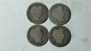 LOT OF 4 DIFF S MINT BARBER DIMES 1893 S 1895 S 98 S 1899 S  GOOD  SET IGD 176