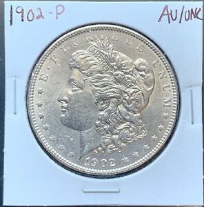 1902 P MORGAN SILVER DOLLAR ABOUT UNCIRCULATED/UNCIRCULATED AU/UNC