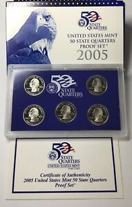 2005 UNITED STATES MINT 50 STATE QUARTERS PROOF SET WITH BOX AND COA