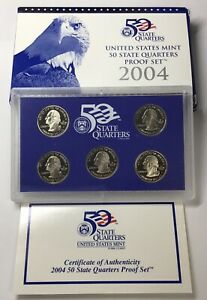 2004 UNITED STATES MINT 50 STATE QUARTERS PROOF SET WITH BOX AND COA