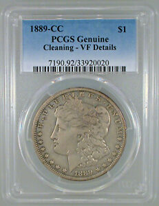 1889 CC MORGAN DOLLAR VF DETAILS PCGS CERTIFIED