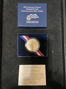 2010 W DISABLED VETERANS UNCIRCULATED COMMEMORATIVE SILVER DOLLAR