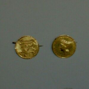 TWO 1855 TYPE 2 LL GOLD PRINCESS ONE DOLLAR GOLD $1 PINBACK 1856 ? LOVE TOKEN