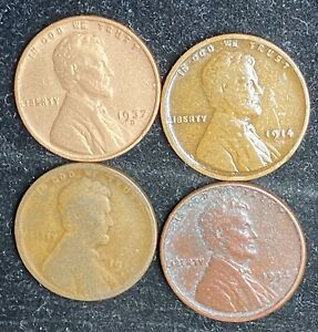 FOUR COIN WHEAT PENNY LOT   HARD TO READ DATES