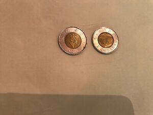 1996 LOT OF 2 CANADIAN TWO DOLLAR COINS CIRCULATED FACE VALUE $4