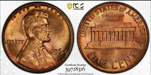 1964 LINCOLN CENT PCGS MS65 RD