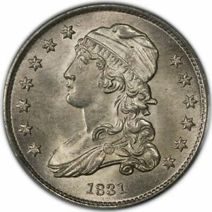 1831 25C LARGE LETTERS CAPPED BUST QUARTER PCGS MS65  CAC