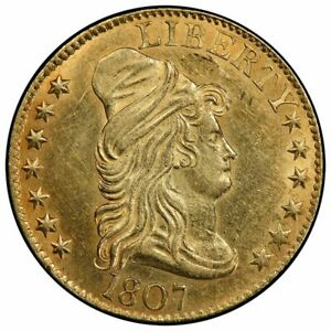 1807 $5 BUST RIGHT DRAPED BUST HALF EAGLE PCGS AU55