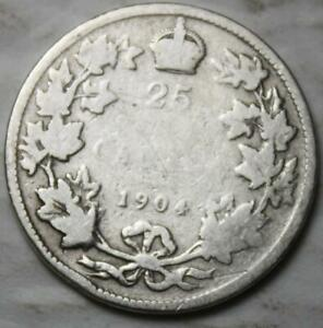 CANADA 1904 STERLING SILVER 25 CENTS OLD DATE KING EDWARD VII