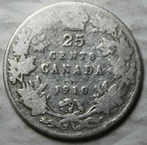 CANADA 1910 STERLING SILVER 25 CENTS OLD DATE KING EDWARD VII