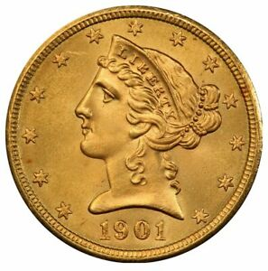 1901 S $5 GOLD LIBERTY WITH MOTTO PCGS MS66   CAC