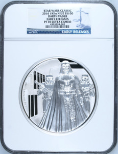 Click now to see the BUY IT NOW Price! STAR WARS CLASSIC DARTH VADER 2016 NUIE 1 KILO SILVER COIN $100 NGC 70 ER