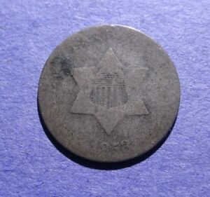 1853 THREE CENT SILVER AG