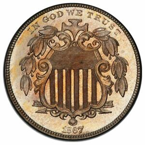 Click now to see the BUY IT NOW Price! 1867 5C NICKEL SHIELD RAYS PCGS PR65