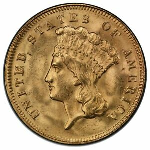 1878 $3 GOLD PCGS MS64   CAC