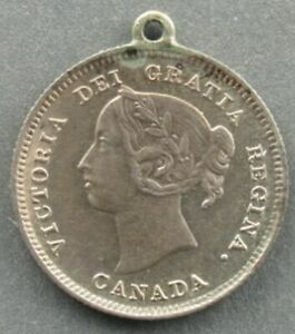 HIGH GRADE 1888 CANADA 5 CENT  LOOPED FOR A CHARM OR NECKLACE  2023