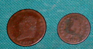 TWO COINS 1809 LARGE CENT 1C AND HALF CENT 1/2C KEY DATE BOTH FOR ONE MONEY