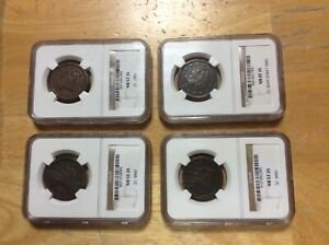 4 COINS NGC 1842 1844 1847 1848 BRAIDED HAIR LARGE CENT 1C VF 20 25 35