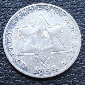 1854 THREE CENT PIECE SILVER TRIME 3C HIGHER GRADE 27594