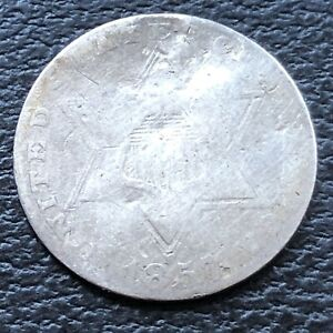 1857 THREE CENT PIECE SILVER TRIME 3C CIRCULATED 27598