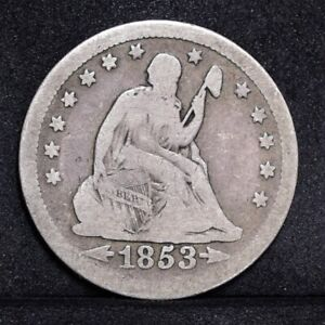 1853 LIBERTY SEATED QUARTER   WITH ARROWS & RAYS   GOOD DETAILS  31985