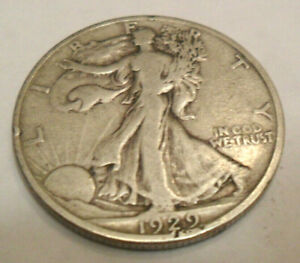 1929 S WALKING LIBERTY HALF DOLLAR  AG OR BETTER   90  SILVER
