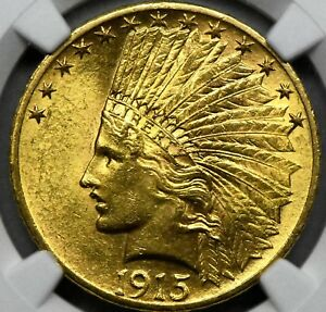 1915 $10 INDIAN HEAD EAGLE GOLD COIN   CERTIFIED   NGC   UNC. DETAILS.