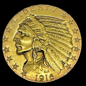 1916 S INDIAN HEAD $5 DOLLAR HALF EAGLE GOLD COIN IN EXCELLENT CONDITION.