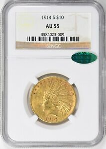 1914 S $10 INDIAN GOLD EAGLE NGC AU 55 & CAC APPROVED