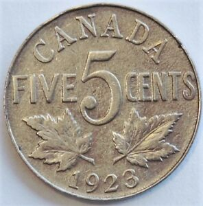 CANADA 1923 5 CENT NICKEL COIN KM 29 [104]